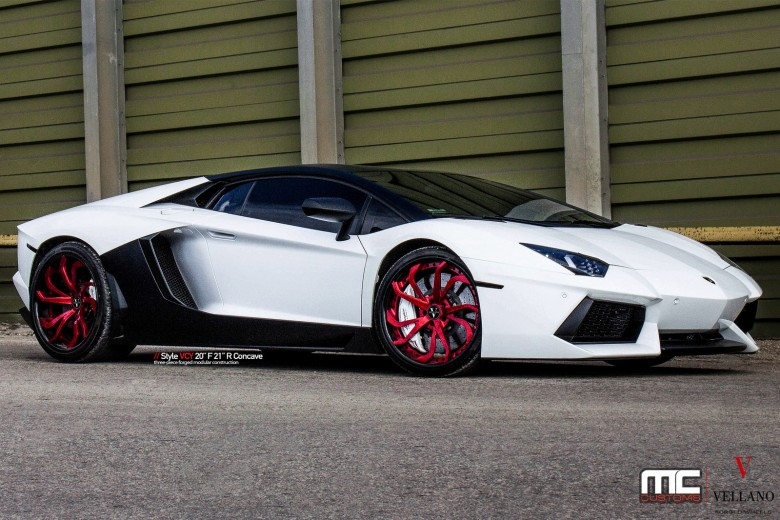 Lamborghini Aventador Sits on Red Vellano Wheels