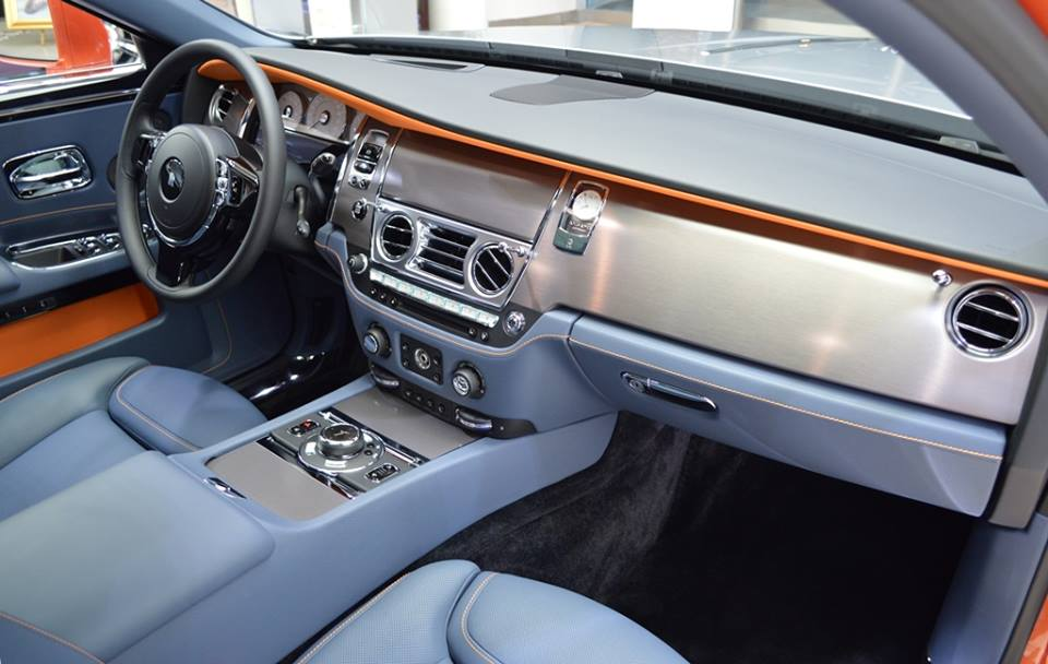 Orange Metallic Rolls-Royce Ghost Showcased At BMW Abu
