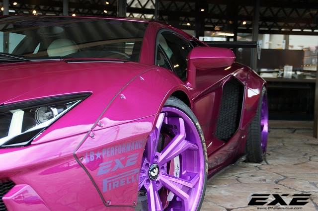 Violet Lambo Aventador with Liberty Walk Kit by EXE