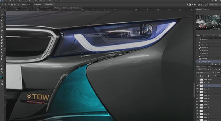 Blade Runner themed BMW i8 rendering