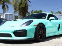 Porsche Cayman GT4 with Mint Green Wrap Is a Real Eye-Catcher
